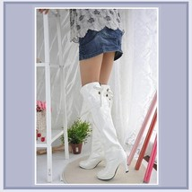 Knee High Wet Look Glossy PU Leather 3 inch Heel Fashion Boots - Red White Black image 4