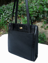 Bally Black Leather with Croc Small Pocket Tote Two Handle Shoulder Bag ... - $150.00