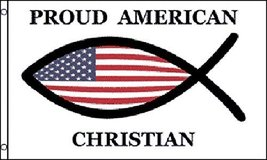 Proud American Christian Flag 3' X 5' Indoor Outdoor Spiritual Banner - $9.95