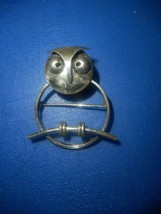 Vintage Old Wise Owl Beau Signed Sterling Silver Owl On Perch Brooch Pin - $37.39