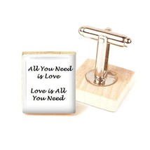 Mens Cufflinks, Beatles cufflinks, wedding Cufflinks, beatles quotes han... - $12.09