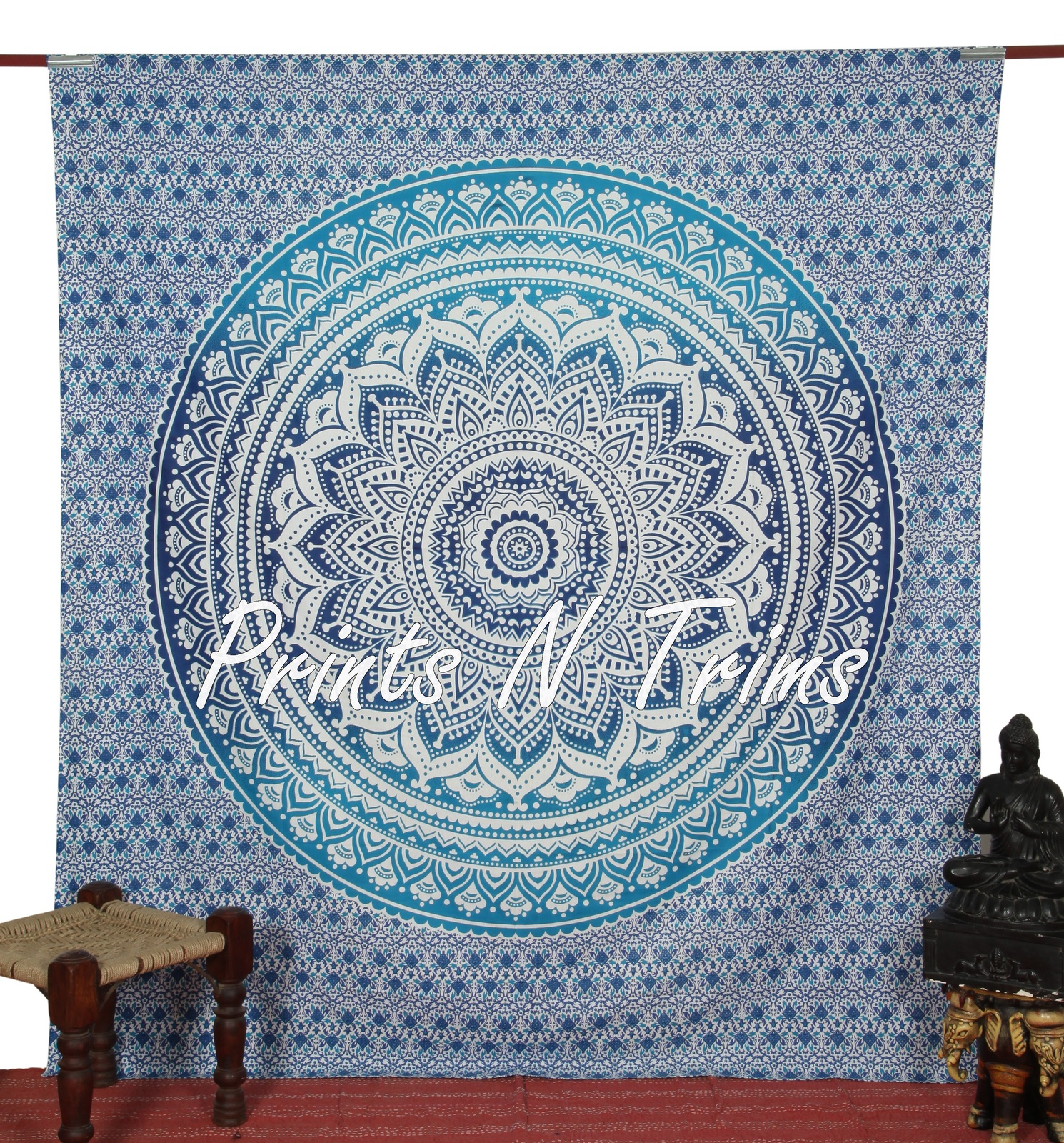 Large hippy wall hanging ombre mandala tapestry bedspread for Fomic sheet wall hanging