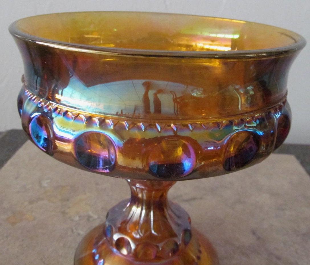 Vintage Indiana Glass Thumbprint Design Indigo Iridescent Table Compote Display