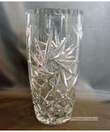 "Vintage Deep Cut Lead Crystal 8 3/4"" Vase (Pinwheels, Stars, Diamonds) - $18.99"