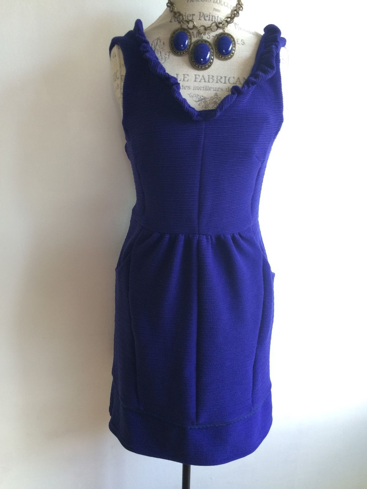 Maeve Blue Ottoman Ruffle Dress Anthropologie Women's Large