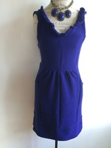 Maeve Blue Ottoman Ruffle Dress Anthropologie Women's Large - $65.00