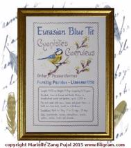Eurasian Blue Tit Ornothological Index Card cross stitch chart Filigram - $10.80