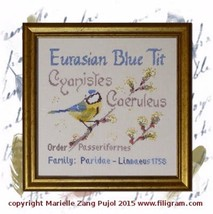 Eurasian Blue Tit cross stitch chart Filigram - $9.90