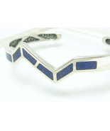 Sterling Southwestern Zig-Zag Lapis Lazuli Chip Inlay Cuff Bracelet Small  - $59.00