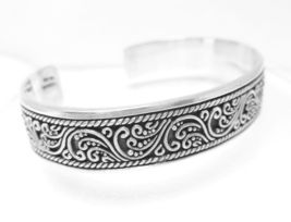 "Artisan Crafted Sterling Silver Oxidized Filigree Cuff Bracelet 7"" - $67.00"
