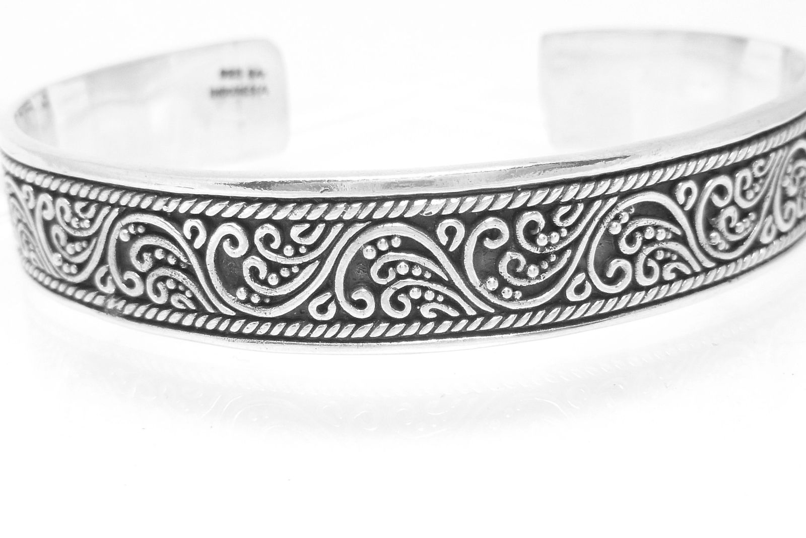 Artisan Crafted Sterling Silver Oxidized Filigree Cuff Bracelet 7""