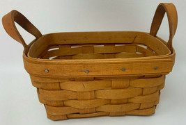 "1992 LONGABERGER Small Rectangular Tea Basket Leather Handles  7x5x3.5"" ... - $15.38"