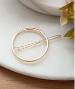 Round Gold Hair Clip, Gold Circle Hair Clip, Geometric Hair Pin, Simple ... - $12.08
