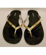 Sandals/Flip Flops by London Rebel Size 9LG Gold/Brown NEW - $9.46