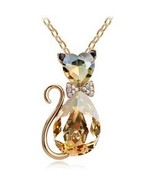 FREE 18K Gold Plated Rhinestone Brown Crystal Cat Necklace - $0.00