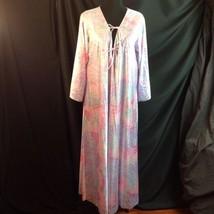 Vtg 1970s Vanity Fair Antron Lounge Nightgown Kaftan Deco Floral Pastel ... - $38.61
