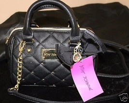 Betsey Johnson Mini Houdini Black Quilted Gold Heart Shoulder Purse NWT $58 - $39.99