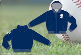 JH Design Detroit Tigers Adult Ripstop Nylon Hooded Jacket with Fleece L... - $79.95