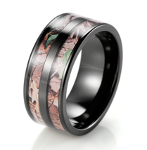 Black Titanium Double Barrel Real Forest Camo Ring Outdoor Hunting wedding band - $19.98