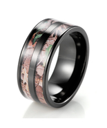 Black Titanium Double Barrel Real Forest Camo Ring Outdoor Hunting weddi... - $19.98
