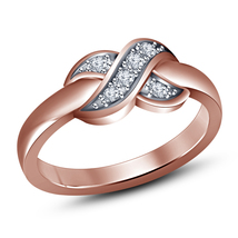14k Rose Gold Finish 925 Sterling Silver Round White Simulated Diamond Knot Ring - $41.31