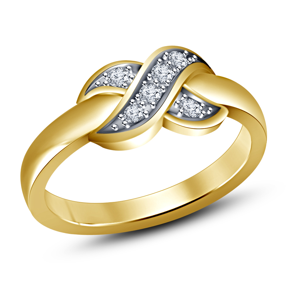 Primary image for Superb White Simulated Diamond .925 Sterling Silver Yellow Gold Finish Knot Ring