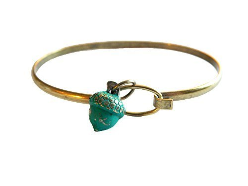 Acorn Tree Charm Bangle Bracelet (Blue)