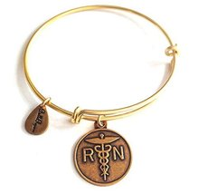 Bella Ryann RN Nurse Gold Charm Bangle Bracelet
