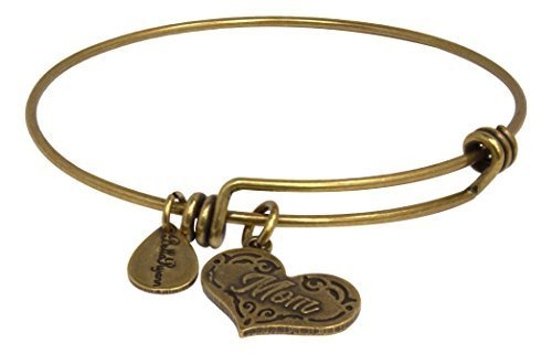 Bella Ryann Adjustable Bangle Charm Bracelet (Mom - 22K Gold-Plated - Heart S...