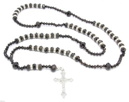 "Gun Hem 32"" Glass Beaded w/ Crystals Chain Jesus Rosary Cross Pendant Ba... - $9.89"