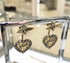 AUTHENTIC Christian Dior 2019 J'ADIOR Heart Crystal Dangle Earrings Wasp Gold image 2