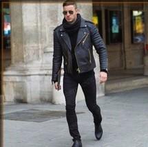 Mane Black motorcycle Fashion Leather jacket, Men biker style fashion ja... - $174.99
