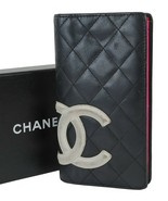 Authentic CHANEL Black Quilted Leather CC Long Wallet Coin Purse #38503A - $233.10