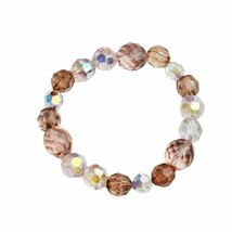 Pink Two Tone Beaded Stretch Bracelet Handmade Handcrafted Costume Jewelry - $9.99