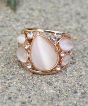 Elegant Teardrop Moonstone Rose Gold Plated Swarovski Element Crystal Ring - $16.00