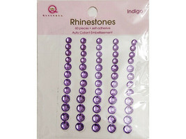 Queen & Co Self-Adhesive Rhinestones, Indigo, 3 Sizes