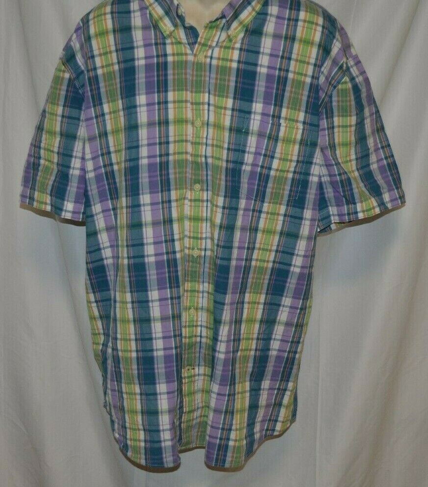 Primary image for St Joh's Bay Short Sleeve Shirt Legacy Poplin Shirt Size XXL Blue Violet Plaid