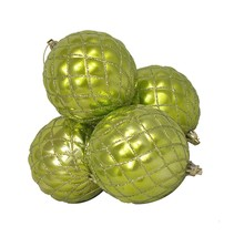 DAK 4 Shiny Green Kiwi Diamond Design Shatterproof Christmas Ornaments 3... - $14.59
