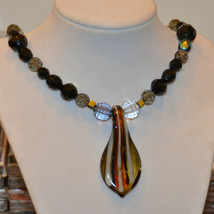 vintage Large art glass pendant necklace faceted bead beaded - $19.79