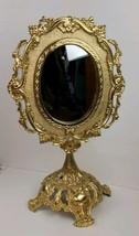 Vintage Mid Century Retro Glamour Ornate Gold Vanity Beauty Standing Mirror - $55.99