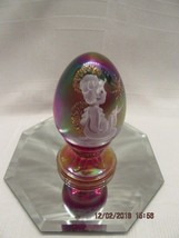 Fenton Art Glass 1995 Red Carnival Christmas Egg On Stand Limited Ed. #2071/2500 - $34.99