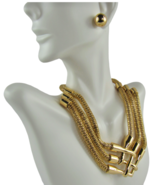 Mia Collection Fashion Jewelry Gold-Tone Choker Necklace & Earrings - Lo... - $48.11