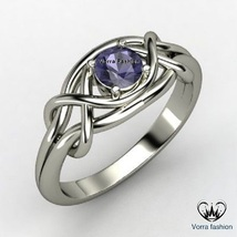 Round Cut Purple Amethyst White Gold Plated 925 Silver Solitaire Engagem... - $73.99