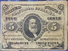 S of 1863 1864-1869 5C Cent Clark Paper U.S. Fractional Currency Note Ci... - $99.95