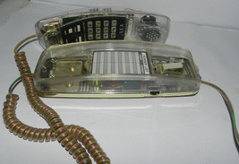 Vintage 80s Phone Clear Light Up Electric Touch Tone Telephone Wall Desk... - $52.93