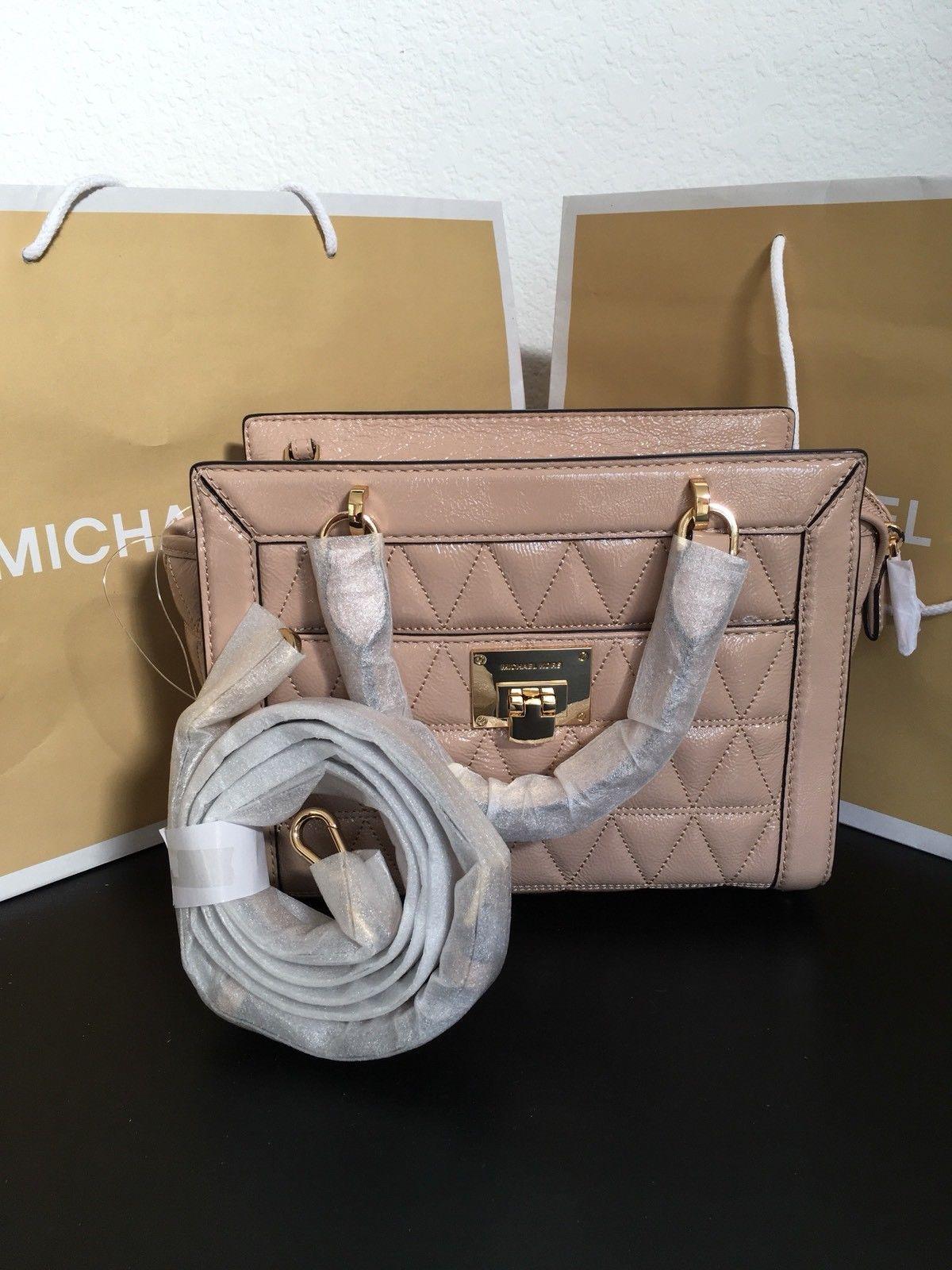 4ec63cea5a7a NWT Michael Kors VIVIANNE Quilted SM TZ Patent Leather Messenger Bag OYSTER   348