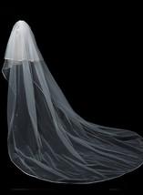 Cathedral Length Wedding Bridal Veil Full Edge Tulle White Veils Wedding Photo  image 8