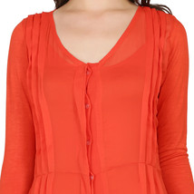 Ira Soleil orange 2pc set of dip dyed poly chiffon with viscose knit str... - $49.99