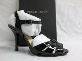 Pelle Moda Size 8 M Gypsy Black Patent Leather Open Toe Heels New Womens... - $117.81