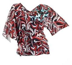 Chaps Ralph Lauren Misses Sheer Nautical Georgette Swirl Tunic Blouse Top M L XL - $39.98
